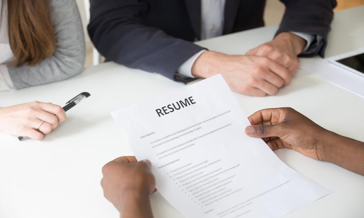 CV na entrevista de trabalho