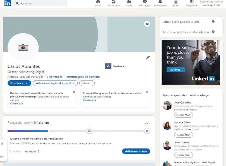 Página de Perfil do LinkedIn